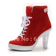 Hot sell Women's red white Sports High Heels brand sneakers boots High... ❤ liked on Polyvore