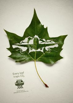 Different silhouettes, cut out from inside a leaf, show notorious polluters such as airplanes, factories and cars. Thus, a single leaf of a tree becomes a synonym for CO2 reduction.