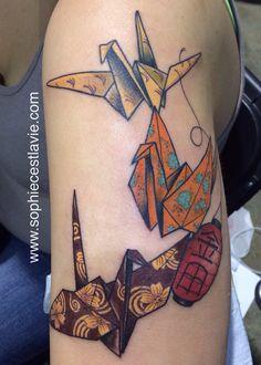 Origami bird tattoo by Sophie C'est la Vie #origamicrane #origami #papercrane…