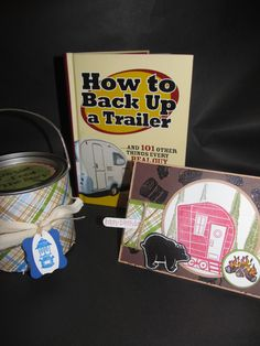 "Camping theme gift set including book, card (Stampin up set ""Happy Camper"") and gift can for gum and candy. Created by Carol Scheevel"