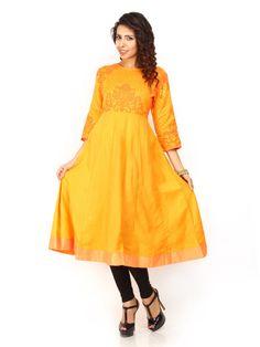 91018826fa2 Imara Mustard Yellow Printed Front Cut Kurta Women39s Kurti