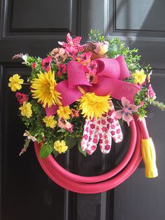 Attractive Pink Garden Hose Wreath Pink U0026 Yellow Flowers Gift Wreath