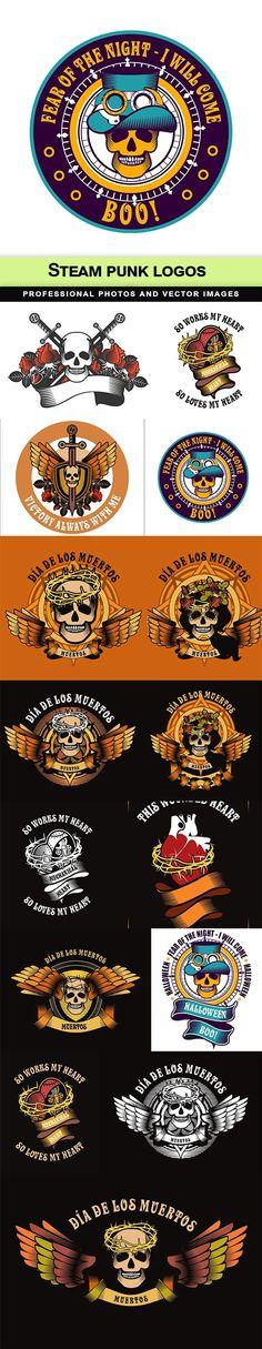 Steam punk logos - 15  EPS