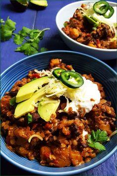 Vegetarische flespompoen chili | Gewooneenfoodblog.nl