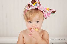 Cupcake Fabric Bow Headband Sizes Newborn3 by InTheLoopBowtique, $12.00