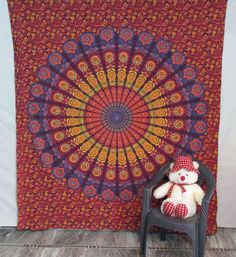 Indian Cotton Mandala Bedspread Wall Hanging Hippie Throw Bohemian Tapestry #Handmade Bohemian Tapestry, Bedspreads, Hippie Boho, Mandala, Indian, Wall, Cotton, Handmade, Home Decor