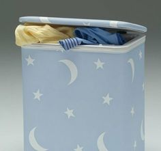 """Stars & Moons Hamper With Interior Bag - Pink by CutieBeauty ed. $29.99. Wrap your infant with the stillness of night by decorating their sleep environment with Stars & Moons. A perfect addition to any nursery. Order as set or individually. Three colors are available.  Made with Redmon's highest quality of standards. Includes vinyl interior bag. Easily wiped clean with a damp cloth.  Product Dimensions: 14.25""""L x 10.25""""W x 18.5""""H."""