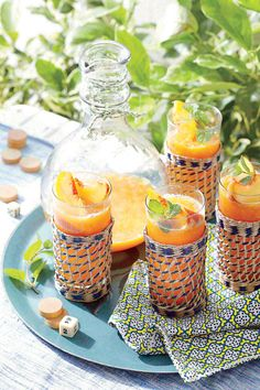 Served ice cold, these refreshing cocktails keep your guests cool.  Recipe: Frozen Peach Old Fashioneds