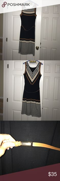 WHBM brown, black, n white dress!  Smashing!! This dressing is amazing and was probably my favorite, it sold out of the stores in the summer of 2015.  The faux Leather around the arms and the V detail on the back of the dress.  Received so many compliments and many stating that I looked thin in the dress (WHBM is amazing).  I am no longer this size and really sad to depart with this dress.  Make an offer, I'm open. White House Black Market Dresses