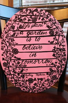 """Oval Canvas Quote painting (16x29)-""""To plant a garden is to believe in tomorrow."""" on Etsy, $25.00"""