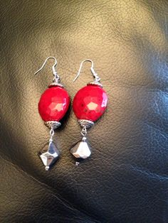 Red resin earrings with silver components. Perfect Handmade gift foe Christmas!!