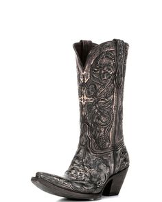 Women's Charcoal and Denim Hand Tooled Las Cruces Boot