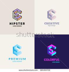 """Letter """"E"""" isometric logo design set."""