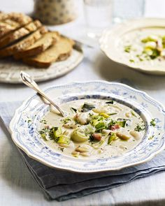 Crusty bread is essential when tucking in to Debbie Major& hearty chowder recipe made using Jersey milk, smoked bacon, butter beans and leeks. Leek Recipes, Welsh Recipes, Chowder Recipes, Bacon Recipes, Butter Beans, Soup Kitchen, Smoked Bacon, Savory Snacks, Winter Food