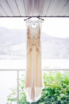 jenny packham esme silver beaded sheath wedding gown/dress