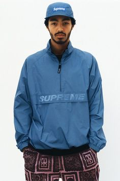 The Supreme Spring 2017 Collection Has an Obama Sweatsuit, Fresh Outerwear, and a Whole Lot More Photos Summer Lookbook, Pullover, Mode Vintage, Windbreaker Jacket, Streetwear Fashion, Streetwear Shop, Air Jordan, Supreme, Sneakers Fashion