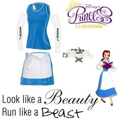 Look like a beauty, run like a beast. by marianne18241 on Polyvore featuring Brooks, Nathan, Chef Works and Disney