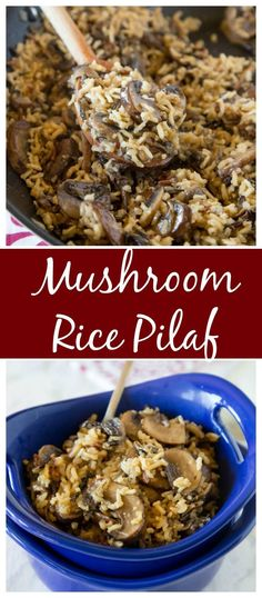 Mushroom Rice Pilaf – an easy homemade rice pilaf with lots of fresh mushrooms! Great side dish recipe for chicken, fish, pork, or beef. I use beef stock instead and add majarom and onion to the mix! Rice Side Dishes, Food Dishes, Side Dishes For Fish, Side Dishes For Chicken, Sides With Fish, Easy Rice Pilaf, Rice Pilaf Recipe, Rice Pilaf With Orzo, Brown Rice Pilaf