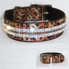 A jaguar print velvet collar for large dogs with Smokey topaz and our new large clear Swarovski crystals! Very chic!