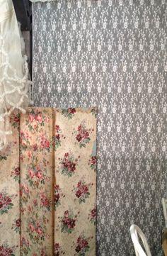 Vintage Lace & Wallpaper Screen | Wallpaper & Tiles