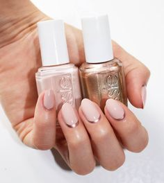 toppless and barefoot and penny talk essie pink light pink copper nail art