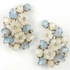 Trifari 'Alfred Philippe' 'Bois de Boulogne' Large Pastel Blue and White Moonstone Fruit Salads Floral Clip Earrings