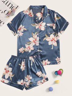 Cute Sleepwear, Sleepwear Women, Pajamas Women, Cute Pajama Sets, Cute Pajamas, Satin Pyjama Set, Satin Pajamas, Pyjamas, Sexy Lingerie