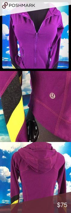 Lululemon Half Moon Full Zip Jacket Great condition, just wash and wear and small chip on zipper. Thumb holes and a ponytail hole in the hood! So cute and warm for a cold day run. lululemon athletica Jackets & Coats