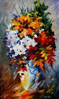 "Winter Bouquet — PALETTE KNIFE Oil Painting On Canvas By Leonid Afremov - Size: 36"" x 20"""