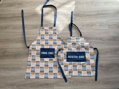 Parent and child matching aprons sous chef and master chef   Etsy Felt Letters, Kids Apron, Master Chef, Tie Knots, Aprons, Hand Sewing, Birthday Cards, Sewing Patterns, Parenting