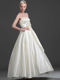Beaded Strapless Satin Ball Gown with Oversized Bowknot Front