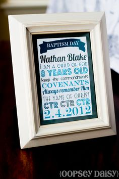 Free printable, Baptism Subway Art