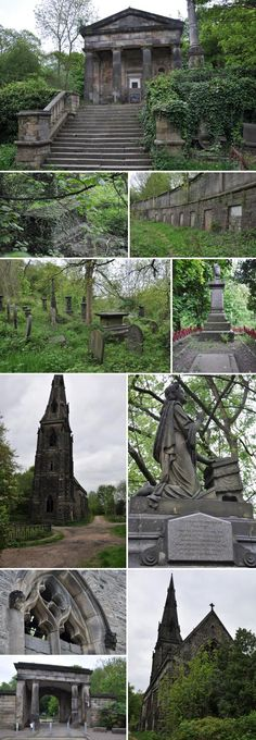 Sheffield's General Cemetery opened in 1836 as a Nonconformist burial ground, one of the first landscape cemeteries marking a shift away from overcrowded chuchyards. Derelict Buildings, Unusual Buildings, Abandoned Houses, Abandoned Places In The Uk, Wonderful Places, Beautiful Places, South Yorkshire, Old Churches, Cemetery