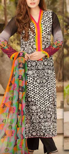 Buy Black/Grey Printed Swiss Voile Dress by Charizma Lawn Spring 2015 Collection.