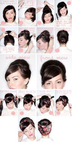 trendy hairstyles bandana rockabilly hair tutorials – Tutorial Per Capelli Bandana Hairstyles, Retro Hairstyles, Girl Hairstyles, Hairstyles Videos, Easy Hairstyles, Scarf Hairstyles Short, Beehive Hairstyles, Wedding Hairstyles, Rockabilly Hair Tutorials