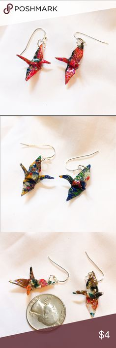 Origami Crane Handmade Earrings!! Handmade origami earrings with a clear sparkle finish! Gloss finish makes the paper durable and water resistant. Either mix and match colors above or get the same color! Available in white, red, and blue. Jewelry Earrings