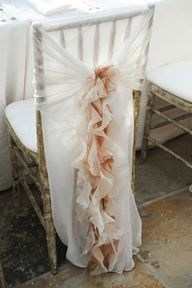 Chairs: Muslin backing with organza in mint and coral.
