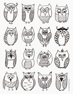 Coloring owls for children for in between in boredom - Coloring owls for children for in between in boredom - Doodle Drawings, Doodle Art, Easy Drawings, Owl Doodle, Colouring Pages, Coloring Books, Adult Coloring, Fall Art Projects, 2nd Grade Art