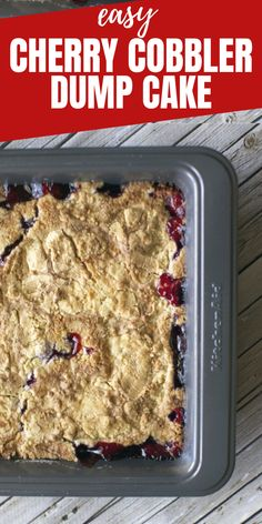 Easy Cherry Cobbler Using Box Cake Mix Recipe (Dump Cake) This is the easiest (only 3 ingredients) and yummiest cherry cobbler you will ever make! The cherries can be swapped out for any other fruit – peaches, blueberries, apples – and you can use a yellow or white cake mix, both will work. All you need is the ingredients below and a 9×13 baking dish!