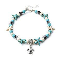 Fashion Jewelry Sweet-Tempered Red Stone Sea Turtle Bead Hemp Anklet Natural Macrame Handmade Ankle Bracelet