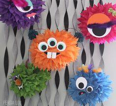 Tissue pom pom monsters for Halloween or monster themed party