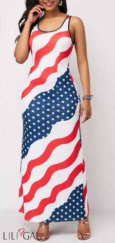 Of July Patriotic American Union Flag Print Maxi Tank Dress Star Print Round Neck Sleeveless Maxi Dress Tight Dresses, Sexy Dresses, Casual Dresses, Sleeveless Dresses, Long Dresses, Dresser, Club Party Dresses, Spandex Dress, Women's Fashion Dresses