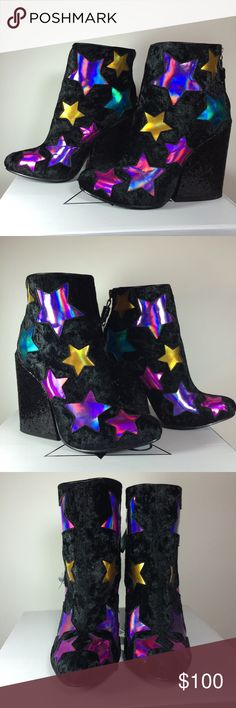 """YRU JEM star boots hologram new in box 6 💗⭐️💗⭐️💗 Yru JEM black velvet star glam boots! Funnest boots ever made! Size 6. Brand new never worn. Ships new in original box.  Cute black glitter heel is a little over 4""""! Zipper in center back with cute black glitter tassel. Hologram colored stars all around boots. Looks amazing with just about anything. ✨✨✨ Tags dolls kill 70s glam vintage style Barbie rock n roll party YRU Shoes Heeled Boots"""