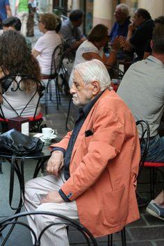 A gentleman taking a relaxing break on market day, Nizza Monferrato