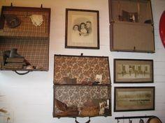 Antiques; love this old suitcase idea!