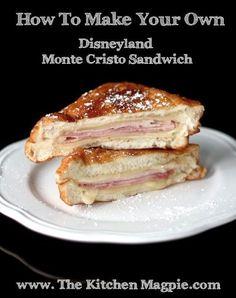 From Kitchen Magpie- Karlynn Johnston Copycat Disneyland Monte Cristo Sandwiches! From Kitchen Magpie- Karlynn Johnston Supper Recipes, Great Recipes, Favorite Recipes, Frugal Recipes, Paninis, Disneyland Monte Cristo Sandwich Recipe, Quesadillas, Disney Food, Disney Recipes