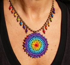 Items similar to RAINBOW GIPSY MANDALA crochet necklace boho necklace brass ball chain necklace ethnic jewelry rainbow mandala tribal crochet pendant on Etsy Crochet Circles, Crochet Mandala, Bead Crochet, Cute Crochet, Textile Jewelry, Fabric Jewelry, Ethnic Jewelry, Fabric Necklace, Boho Necklace