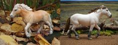 Repainted schleich camargue mare (original on the right), now a palomino pony