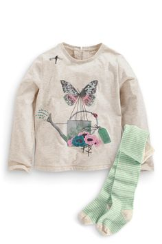 Buy Oatmeal Watering Can Butterfly Top And Stripy Tights (3mths-6yrs) from the Next UK online shop