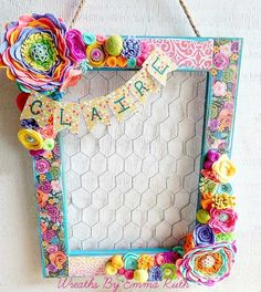 """Handmade Wreaths And Decor on Instagram: """"How adorable is this colorful chicken wire frame!?!?!? #mamamaker #maker #doordecor #roomdecor #girldecor #handmade #felt #feltflowers #feltdecor #chickenwire #chickenwireframe #wreathsbyemmaruth #iowahandmade"""""""